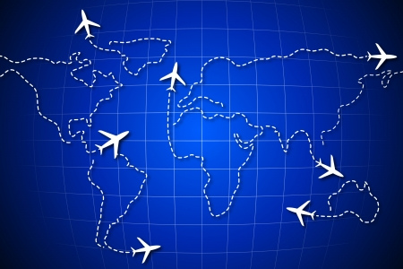 illustration of flying jet drawing world map Vector