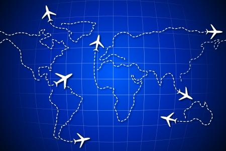 flightpath: illustration of flying jet drawing world map