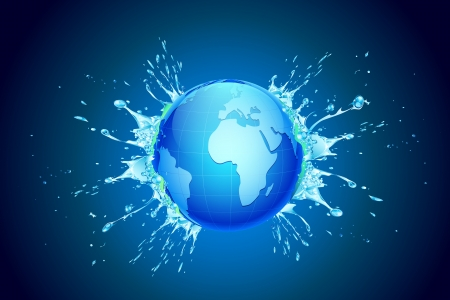 natural disaster: illustration of splash of water coming out of earth Illustration