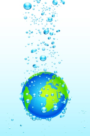 illustration of earth sunking into water on abstract background Vector