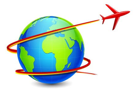 illustration of airplane flying around earth Vector