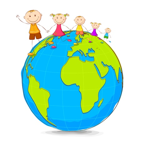 hand holding globe: illustration of kids playing on globe holding hand Illustration
