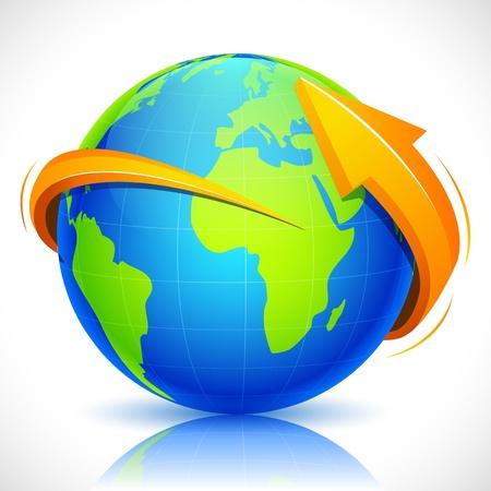 illustration of arrow around globe on abstract background