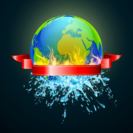 illustration of earth in fire from one side and water from other Vector