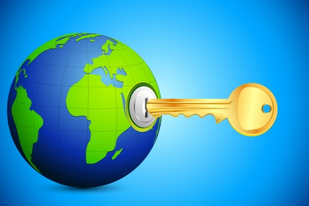 key hole: illustration of key entering in key hole in globe