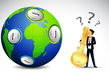 illustration of confused man with key standing in front of earth with keyhole Vector