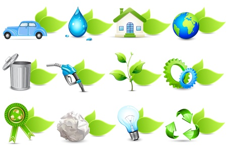 eco icons: illustration of set of different element for recycle with leaf