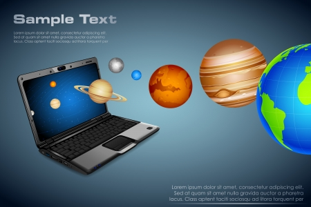 illustration of planets coming out of notebook Vector