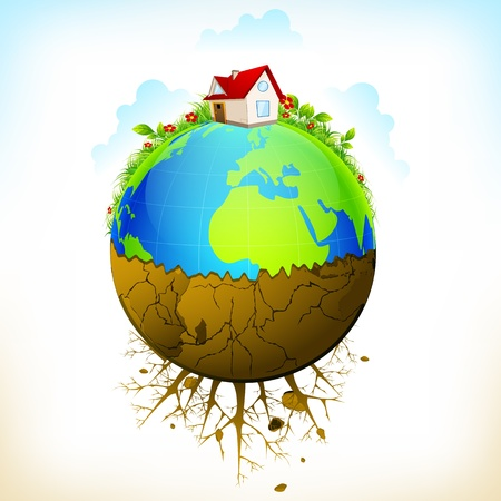 land development: illustration of earth as green environment and distructed Illustration