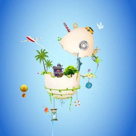 arbol de pascua: ilustraci�n de la casa con el �rbol y la estatua de la libertad en c�scara de huevo roto