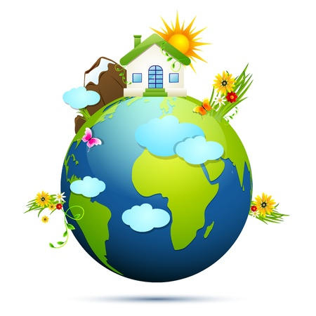 environment geography: illustration of home and tree around globe showing clean earth Illustration