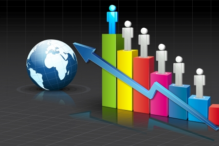 upward graph: illustration of people standing on growing bar graph with globe on abstract background