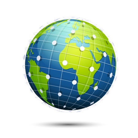 conectividade: Ilustração do globo com ampla conectividade mundo no fundo branco