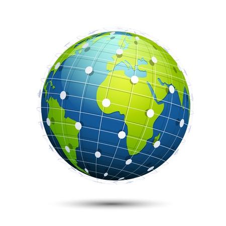conectividad: ilustraci�n del globo con la conectividad en todo el mundo en el fondo blanco Vectores