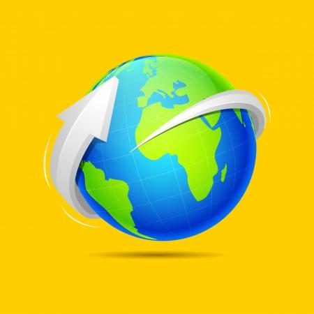 illustration of arrow around earth on abstract background Illustration