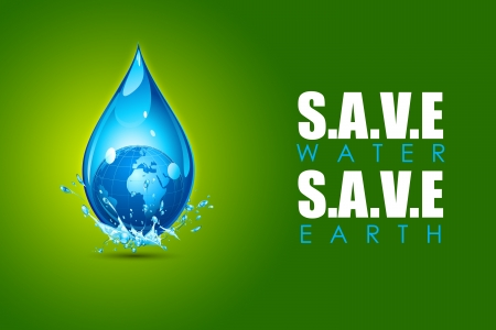 save planet: illustration of earth in water drop showing save water save earth concept Illustration