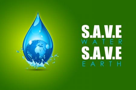 conservacion del agua: ilustración de la tierra en la caída de agua que muestra el ahorro de agua ahorro concepto de la tierra