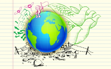 social awareness symbol: illustration of peace hand drawn doodle around earth