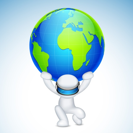 scalable: illustration of 3d man in vector fully scalable holding earth on his back