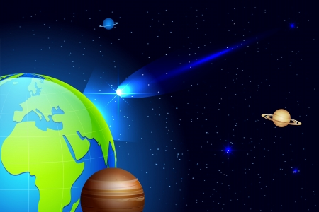 meteor shower: illustration of shooting comet coming towards earth in universe Illustration