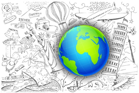 illustration of travel element doodle around globe Vector