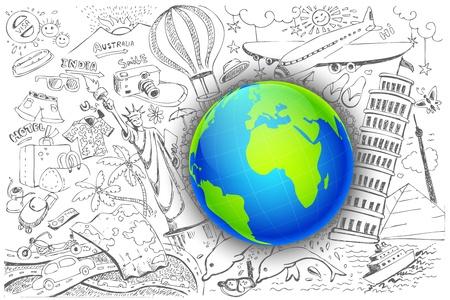 international landmark: illustration of travel element doodle around globe