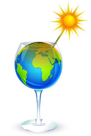 sucking: illustration of globe in glass and sun sucking it with straw on white background Illustration