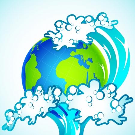 tsunami wave: illustration of tsunami wave splashing on earth
