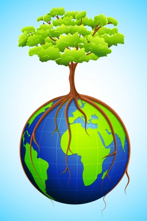 illustration of tree growing on globe with roots holding it Vector