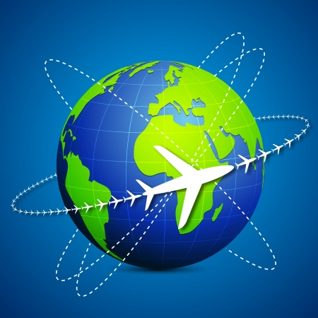 route map: illustration of airplane flying around globe on abstract background Illustration