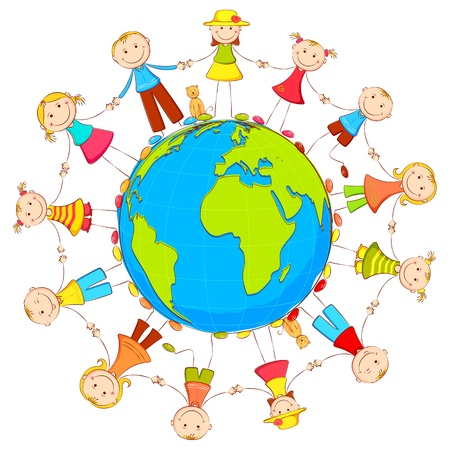 illustration of kids joining hand standing around the earth Illustration