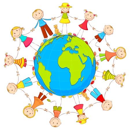 multirracial: ilustra��o de crian�as juntando m�o em p� ao redor da Terra Ilustração