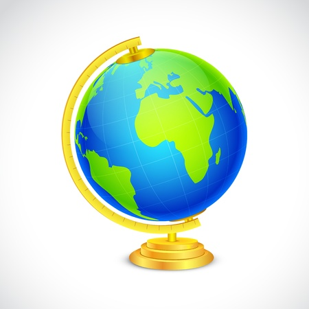 illustration of globe in stand on white background Stock Vector - 17945456