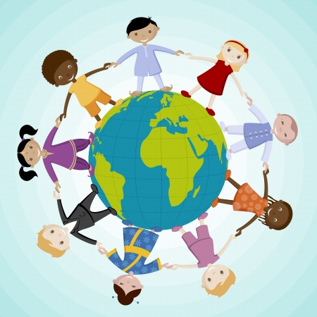 multiracial children: illustration of kids of different nation joing hand standing around the globe Illustration