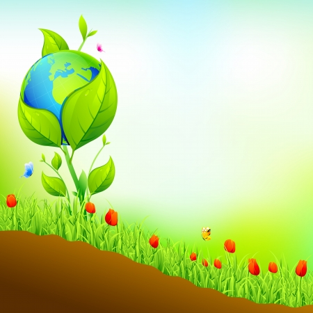 illustration of earth growing in nature garden with flower plant Stock Vector - 17945494