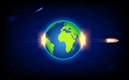ammunition: illustration of fiery bullet penetrating Earth