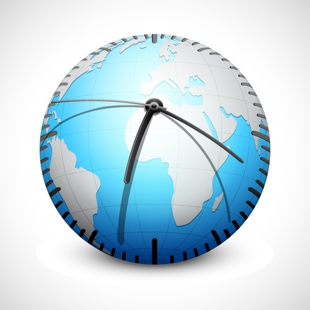 illustration of world clock on abstract background Vector