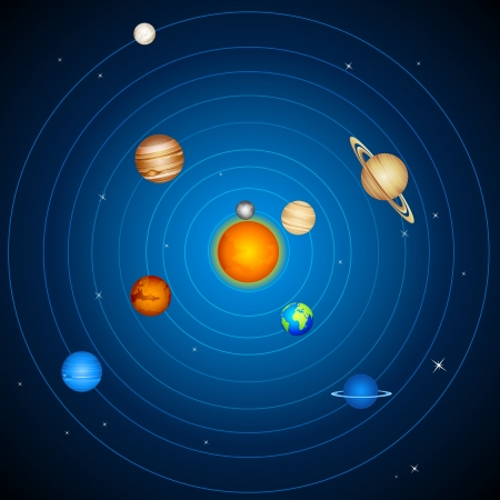 orbit: illustration of  planets with sun and moon in solar system Illustration