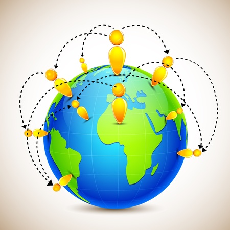 connectivity: illustration of globe with world wide human network on abstract background