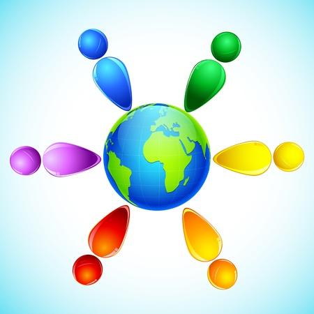 illustration of people standing around the world Векторная Иллюстрация