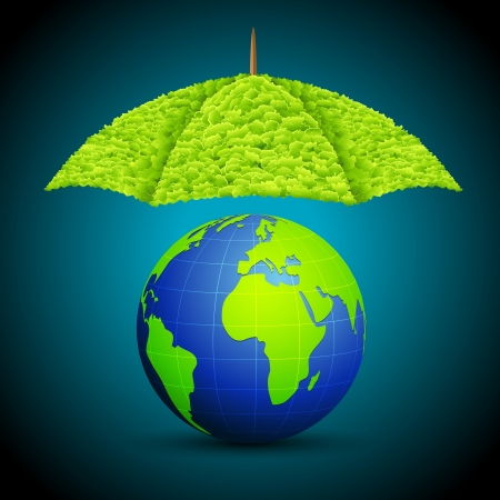 protect icon: illustration of earth with grass umbrella on abstract background Illustration