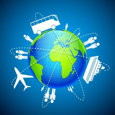 illustration de différents moyens de transport autour de globe