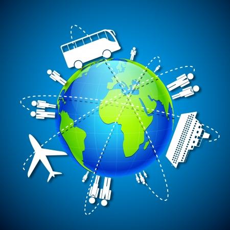 geografia: ilustración de los diferentes medios de transporte en todo mundo Vectores