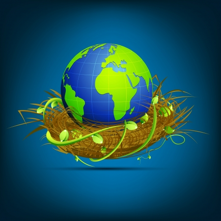 land shell: illustration of globe in nest on abstract background