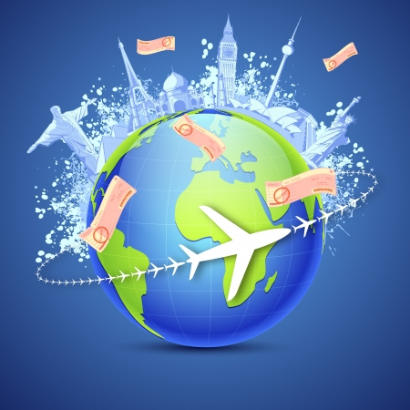 illustration of world famous monuments around globe with air tickets Vector