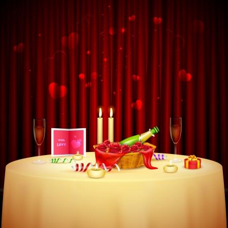truelove: illustrazione della tavola decorata per la cena a lume di candela per San Valentino Vettoriali
