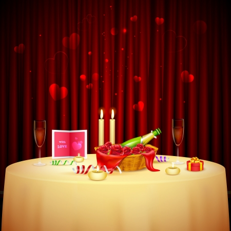 luz de velas: ilustración de mesa decorada para la cena con velas para el Día de San Valentín