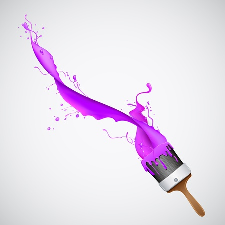 illustration of splash of color from paint brush Illustration