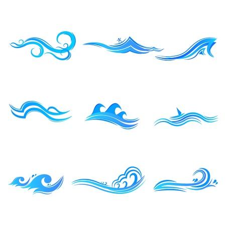 Ilustración del conjunto de símbolo ola sobre fondo blanco aislado
