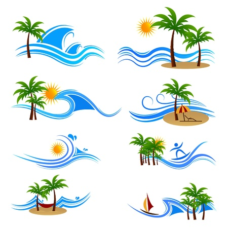 palm fruits: illustration of set of sunset at sea view icon with palm tree